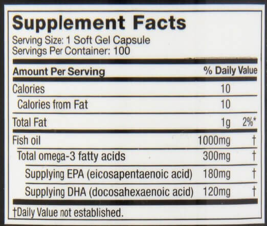 Buy 100 muscletech fish oil with omega 3 in pakistan for Fish oil nutrition facts