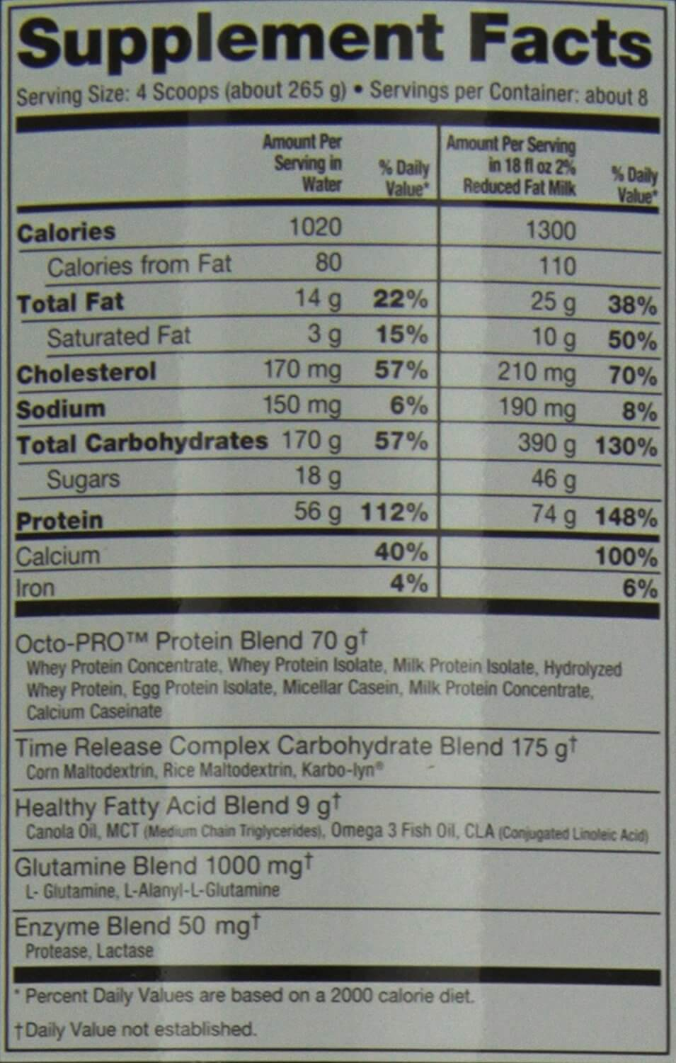 ultimate-nutrition muscle juice weight gainer nutrition facts